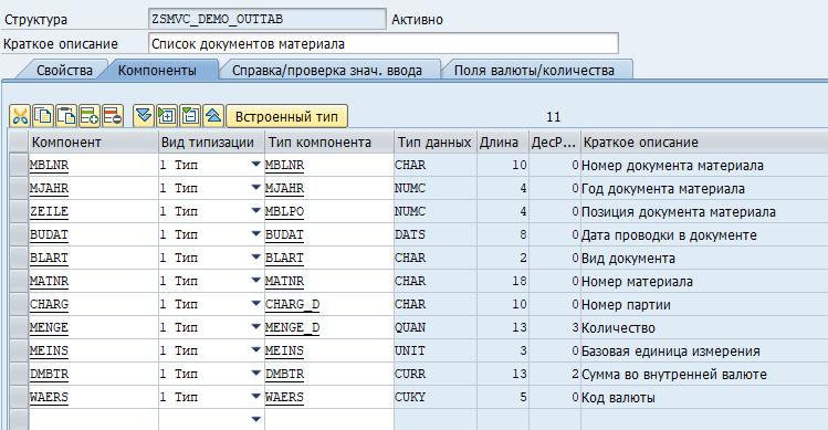 Структура таблицы ALV